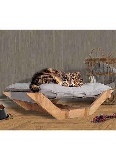 Woodesk Dost Masif Ahşap Gri Renk Kedi ve Köpek Yatağı Renkli